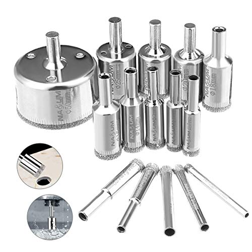 Diamond Drill Bit, NASUM Hole Saw Drill Bits Tools Set, for Glass/Tile/Ceramic/Marble/Porcelain Cutting, Hollow Core Drill Bits Cutter with Diamond Coating, Carbon Steel 5mm-50mm(15PCS)