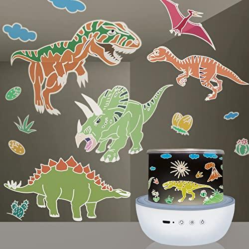 Lampada Proiettore Stelle Bambini, Luce Notturna Dinosauro con 360° Rotazione e 6 Modalità, luci Notte per 2 3 4 5 6 7 8 anni Ragazzi Compleanno Natale Regalo