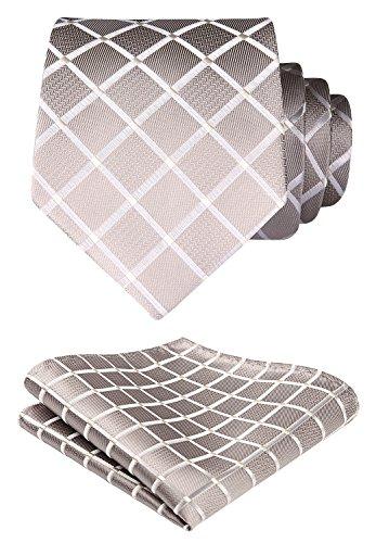 HISDERN Extra lange Check Krawatte Taschentuch Herren Krawatte & Einstecktuch Set Beige