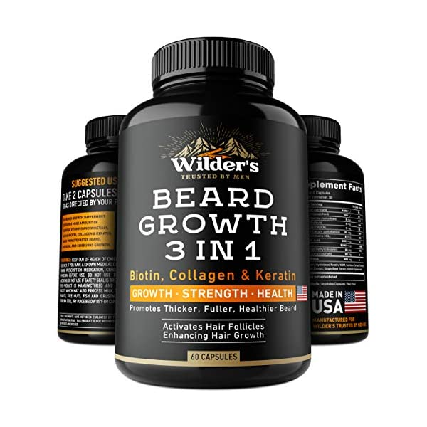 Beard Growth Pills – Thin & Patchy Beard Enhancement Supplement – Made in USA – 60 Capsules – MSM, Biotin, Collagen, Keratin Beard Vitamins – Facial Hair Growth Supplement – Beard Pills for Men