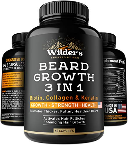 Beard Growth Pills - Thin & Patchy Beard Enhancement Supplement - Made in USA - 60 Capsules - MSM, Biotin, Collagen, Keratin Beard Vitamins - Facial Hair Growth Supplement - Beard Pills for Men