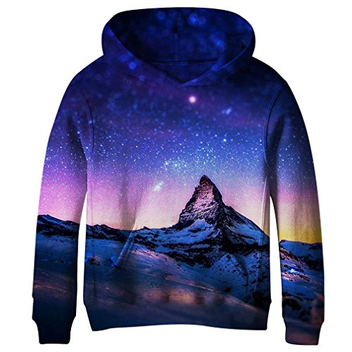 SAYM Big Girls Galaxy Fleece Pockets Sweatshirts Jacket Pullover Hoodies NO21 XL