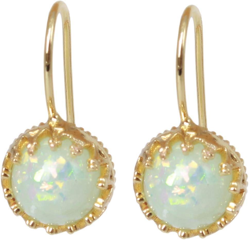 Cngstar Bohemian Round Fire Opal Earring Gold Drop Earrings for Women Men Retro Ethnic Birthstone Dangle Earring Jewelry