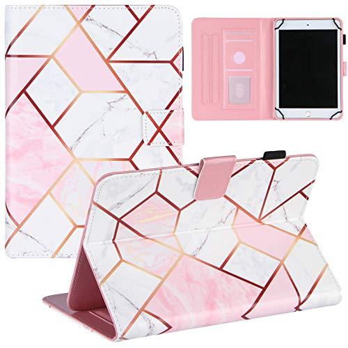 ZOOMALL Funda tipo libro para tablet de 7,5 a 8,5 pulgadas, con soporte para lápices delgado, para tablet universal de 7,5 a 8,5 pulgadas, color rosa y blanco