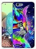 Sunrive Kompatibel mit Vodafone Smart E8 Hülle Silikon, Transparent Handyhülle Schutzhülle Etui Hülle (X Katze 1)+Gratis Universal Eingabestift MEHRWEG