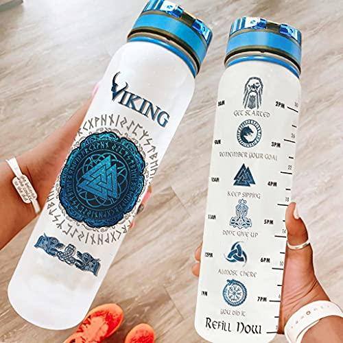 Hothotvery Botella deportiva impresa vikinga Valknut dragones escandinavos marcadores de runas deportivas, sin BPA, 1 l, sin condensación, botella de agua para la escuela, color blanco, 1000 ml