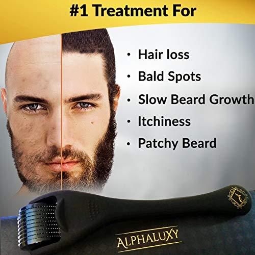 Beard Growth Kit - Derma Roller for Beard Growth 540 Needles + Activator Serum | Microneedle Beard Roller for Men & Organic Beard Oil - Free Grow Beard Guide + Full Warranty