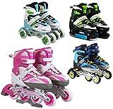 Patins à roulettes/glace 4 en 1 SportVida – Taille réglable - Pour enfants et adultes, rose bonbon, 39-42