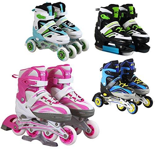SportVida Inline Skates Kinder Erwachsene Inliner 4in1 | Verstellbare Schlittschuhe | Triskates Größenverstellbar ABEC7 Lager | Rollschuhe in Größen 31-42 | Pink...