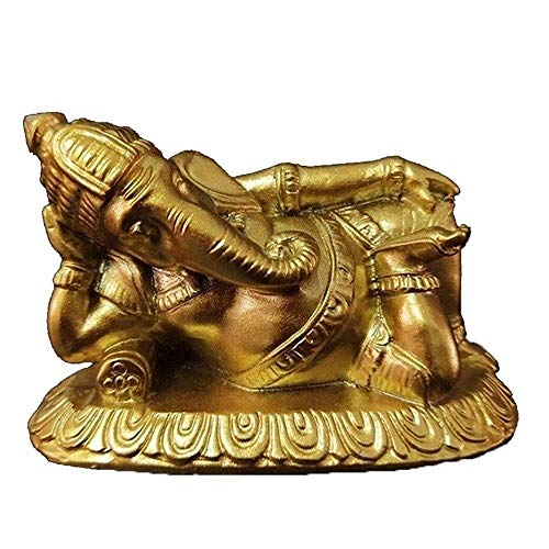 JYKFJ Ganesha Buddha Statue, Meditation Ornament, Resin Sleeping Elephant God Sculpture, Living Room Home Garden Decor Feng Shui Ornaments Crafts (Color : Gold)