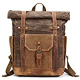 Mwatcher Canvas Leather Backpack Waterproof Rucksack for College Weekend Travel Fit 15in laptops