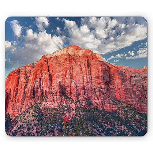 Zion National Park Mouse Pad Panoramabild des Rocky Canyon bei Sonnenuntergang Rechteck Rechteck Rutschfestes Mauspad Schiefer Blau Gebrannt Sienna und Dark Sepia