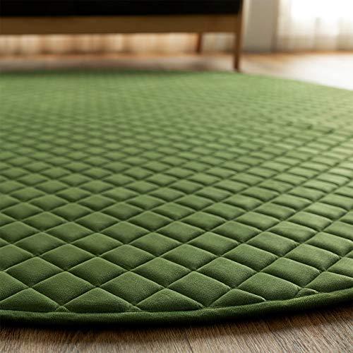 サヤンサヤン円形丸洗えるふかふか高級キルトラグルオント直径140オリーブ厚手