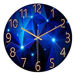 3D Sky Wall Clock Glass Cover Non-Ticking, Number Quartz Wall Clock 12inch Modern Quartz Design Decorative Indoor/Kitchen [TP-1845]