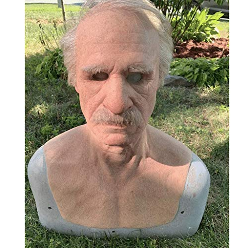 Nobrandd Another Me-Delicate Old Man, The Elder Old Man Chinless Mask, Headgear for Masquerade Halloween Party Realistic Decor Costumes Old Men Latex Mask (A)