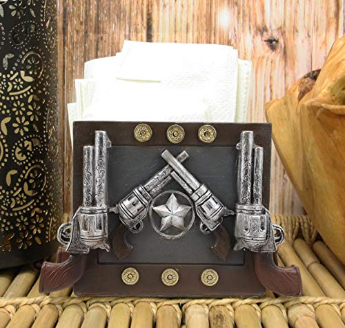 Ebros Rustic Country Wild West Texas Star And Six Shooter Pistols Country Western Cowboy Napkin Holder Decorative Figurine As Kitchen Countertop Dining Table Accent Centerpiece Home Decorative