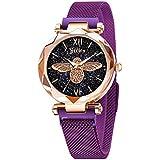 Jechin Women's Starry Sky Watch Woman Magnetic Buckle Bracelet Watches (Purple)