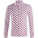 LHWY Camisa de Hombre Tops Shirt 2019 Verano Moda botón Holgado de Manga Larga con Cuello Redondo y Estampado Hawaiano Camiseta Corta Camiseta Gran tamaño Lunares Beach Hawaii Rojo L