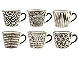 H&H Vhera Set 6 Tazze Jumbo, Stoneware, Bianco/Nero, 340 ml