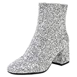 LUXMAX Stivali Donna Tacco Medio Grosso Glitter Paillettes Scarpe da Sposa Eleganti Stivaletti alla Caviglia (Argento) - 37 EU