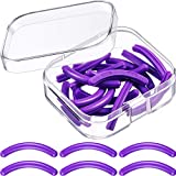 Curler Refills Eyelash Curler Refill Pads Silicone Rubber Curler Replacement Refills Pads for Universal Eyelash Curler with a Clear Storage Box (24 Pieces, Purple)