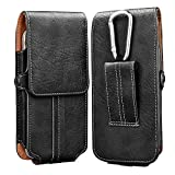 Takfox Phone Holster for Samsung Galaxy S21 Ultra S20+ S10 S9, Note 20 10 9 8, A01 A11 A21 A51 A71 A32 A42 A52,Moto E G Power Stylus Belt Clip Holster Leather Carrying Phone Pouch w Card Holder,Black