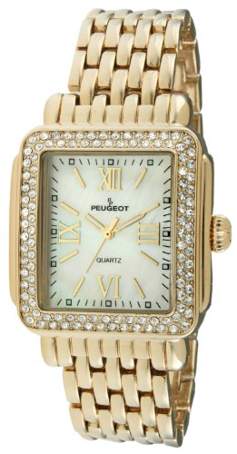 Peugeot Rectangle Deco Crystal Bezel Bracelet Dress Watch