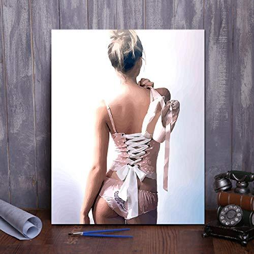 WYTCY Pintar por Números - Bailarina. Pintura Al Óleo De Lienzo De Lino, Pintura De Arte Moderno, Kit De Pintura De Bricolaje, Adecuado para Adultos Y Principiantes40*50CM