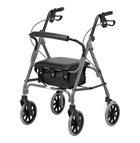Days Lightweight Folding Four Wheel Rollator Walker with Padded Seat, Lockable Brakes, Ergonomic Handles, and Carry Bag, Limited Mobility Aid, Quartz, Medium, (Eligible for VAT relief in the UK)