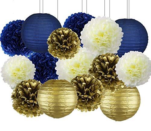 Erosion Marineblau Party Decor Kit, nautische Partydekorationen, hängenden Pom Pom Blumen, Marineblau Papierlaternen für nautische Baby Dusche Bridal Shower Hochzeit Geburtstag Bachelorette