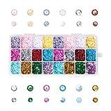 nbeads - Perles de Paillette en Plastique pour Boîtes en Vrac avec Trou de 1 mm, Semi-Cuivre Disco Sequin...