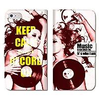 chatte noir iPhone12mini 手帳型 PUレザー iPhone 12ミニ ケース 手帳型 おしゃれ old school Girls with Vinyl record レコード&ガールズ B 手帳ケース