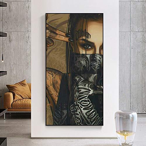 Handaxian Carteles de Pintura al óleo e Impresiones de una Mujer con una máscara sobre Lienzo Chica de Tatuaje Cuadro de Arte de Pared decoración del hogar 50x75cm sin Marco