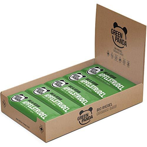 Barritas veganas, Snack Paleo vegano puro y con ingredientes orgánicos. Barritas energéticas 12x30 en una caja de Green Panda (3 sabores diferentes) (Strudel de manzana)