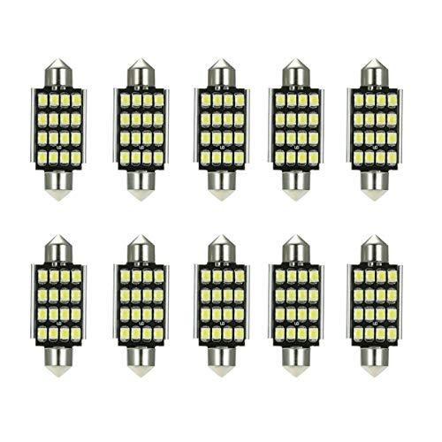 Autolamp LED 10 stuks 12 V 41 mm 16 SMD 3528 lantaarn binnen lantaarn LED licht lamp wit licht