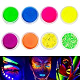 Neon Pigment Eyeshadow Powder,FindinBeauty 8 Mixed Bright True Colors UV Glow...