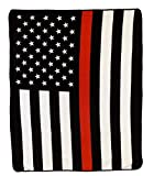 Infinity Republic - Thin Red Line Soft Fleece Throw Blanket - 50x60 Perfect for Living Rooms, bedrooms, Kids' Rooms, Outdoors!