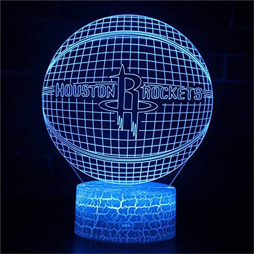 Lámpara 3D Houston Rockets de ilusión óptica 3D luz nocturna de 16 colores que cambian de acrílico LED luz nocturna para niños y niñas como en cumpleaños o días festivos, sistema solar regalo