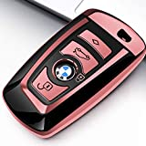 Uxinuo BMW Key Fob Cover, Key Fob Case for BMW 1 3 4 5 6 7 Series X3 X4 M5 M6 GT3 GT5 Remote Control Key Premium Soft TPU Anti-dust Full Protection, Rose Red