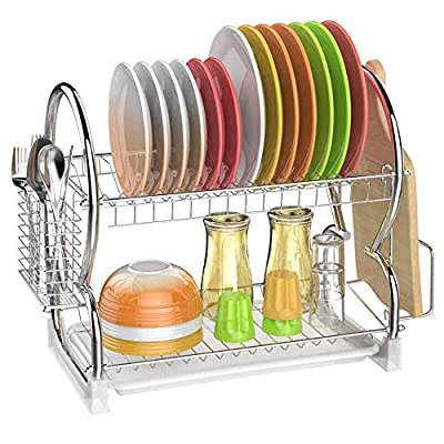 Dish Drying Rack, GSlife 2 Tier Stainless Steel...