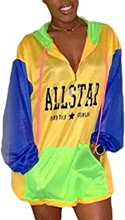 Womens Colorblock Long Sleeve Zip Up Drawstring Windbreaker Hoodie Jacket