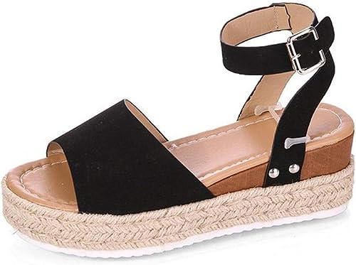 Sandales compensées de Grande Taille Sandales Sandales Sandales à Bouche en Poisson 1d0