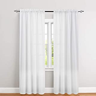 jinchan White Curtains 95 inch Rod Pocket Casual Weave Window Curtain Set for Bedroom Living Room 2 Panels