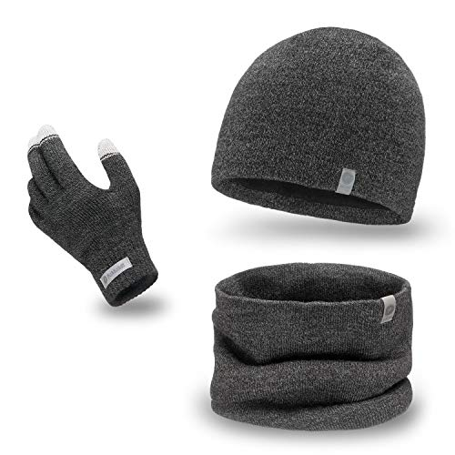 PaMaMi Herren Winter-Set 3-teilig (Handschuhe, Mütze, Loop-Schal) | Dunkelgrauer Melange | 100{4eb24d4383997d41cc1774063654cad78e573e54ab01572068286f5cb917b4e3} Acryl Handschuhe mit Touchscreen-Funktion, atmungsaktive Mütze und wärmender Loop-Schal in Strickoptik