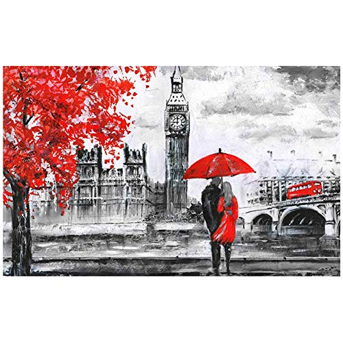 Diamond Art Painting Kits for Kids Full Drill Large 5D Diamond Painting London Big Ben Red Bus Couple 50x100cm/20x40in Square Drill DIY Diamond Embroidery Cross Stitch Arts for Home Wall Decor L8143