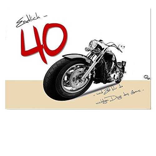 DigitalOase Glückwunschkarte 40. Geburtstag Jubiläumskarte 40. Jubiläum Geburtstagskarte Grußkarte Format DIN A4 A3 Klappkarte PanoramaUmschlag #HARLEY
