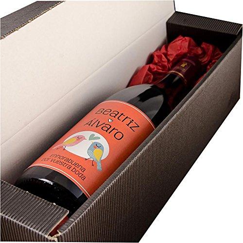 Calledelregalo Regalo de Boda para Parejas Personalizable: Botella de Vino Personalizada con Nombres y la dedicatoria Que tú Quieras