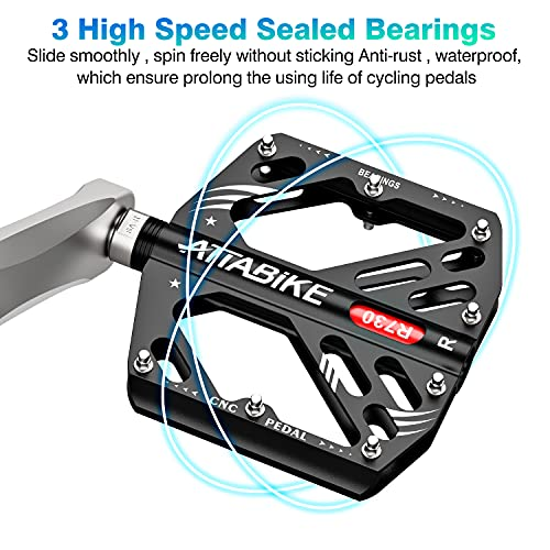 ATTABIKE Fahrradpedale 9/16 Zoll Achse CNC Aluminium, 16 Anti-Rutsch-Spikes MTB Pedale mit 3 Abgedichtete Lager, Breite Plattform Flat Pedale MTB Lieferung mit Installationswerkzeugen