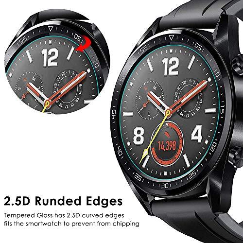 CAVN Panzerglas Kompatibel mit Huawei Watch GT Sport /Classic /Active Schutzfolie [4-Stück], (Nicht für GT 2) Wasserdichtes gehärtetes Glas Anti-Scratch Anti-Bubble Displayschutzfolie Schutz für GT - 6