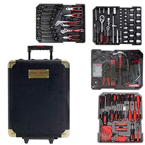 Maleta SWISS KRAFT trolley herramientas de trabajo 419 pzs 4 compartimentos